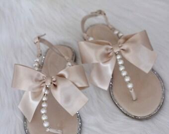 Frauen Perlen Hochzeit Sandalen BEIGE Patent Pearl