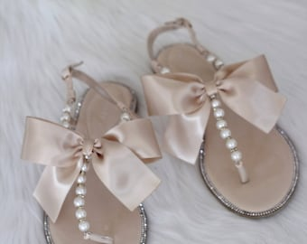 cee86c14b4a2 Women and Girl Pearls Wedding Sandals - BEIGE Patent Pearl Rhinestones flat  sandal with oversized satin bow