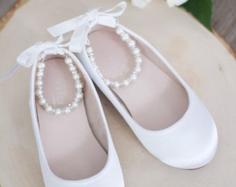 c1730288c WHITE Satin Flats with Pearls Ankle Strap - Satin flower girls shoes