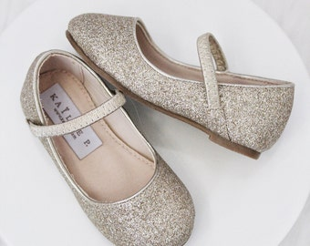 8b44ae65a SOFT GOLD GLITTER Maryjane Flats for Flower Girls Shoes, Girls Shoes,  Holiday Shoes, Party Shoes