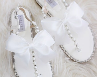 394d77e056599 Women and Girls Sandals - OFF WHITE with Pearls   SILVER Beads Rhinestones  with oversized satin bow