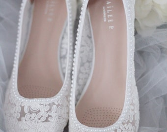 12fbbc9bc WHITE LACE round toe flats with mini PEARLS - Women Wedding Shoes