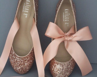 62b54457b3b ROSE GOLD ROCK Glitter flats with satin bow tie - Women Gold Wedding Shoes  - Bridal Shoes
