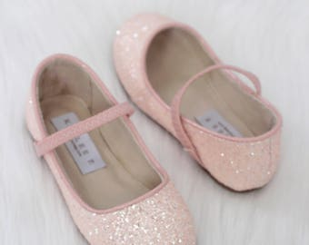 2fe0a570e05292 DUSTY PINK Rock Glitter Maryjane Flats for Flower Girls Shoes