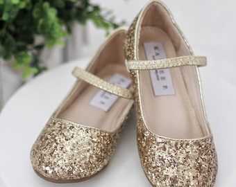 8249b5a8a0e GOLD ROCK GLITTER Maryjane Flats for Flower Girls Shoes