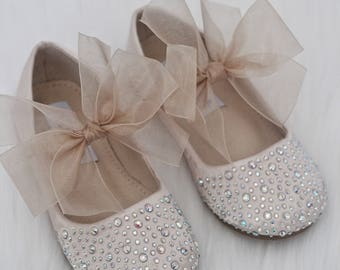 93eca9c2db2 GIRLS SHOES- CHAMPAGNE Satin With Rhinestone ballet flats with chiffon bow.  For weddings
