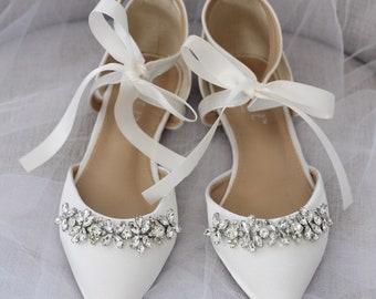 78a0058168a6 IVORY SATIN Pointy Toe flats with sparkly rhinestones across the toe with  satin ankle tie