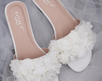 886c6fe34d361c IVORY SATIN Slide Sandals with allover Chiffon Flowers - Bridal Sandals