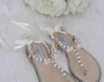 Wedding sandals etsy pearl wedding sandals t strap beige pearl with rhinestones flat sandal with satin ankle strap women girls flat sandals junglespirit Images