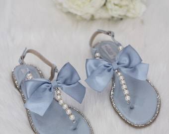 4a4a2e8d3ee4b Women   Kids Wedding Pearl Sandals - LIGHT BLUE Patent Pearl Rhinestones  sandals with oversized bow. For bride