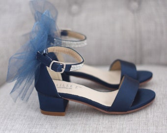 ec2a9b4db01 NAVY SATIN Block Heel Sandals with Tulle Bow
