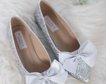 135eed9ac10d SILVER ROCK Glitter pointy toe flats with FRONT Satin Bow - Women Wedding  Shoes