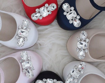 324fed02d SATIN MARY JANE With Embellished Rhinestones Brooch - Flower Girls Shoes,  Birthday Party Shoes, Holiday Shoes