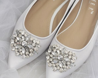 e786dc9ca8e4f WHITE Satin Pointy toe flats with oversized rhinestones brooch - Women  Wedding Shoes