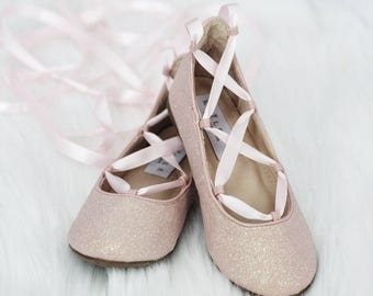 Flower girl shoes etsy pink glitter infant girl shoe and girls ballerina shoes lace up flats blush pink flower girl shoes mightylinksfo