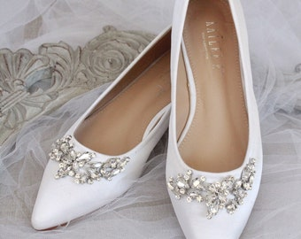 caf1215f3617 WHITE SATIN Pointy Toe flats with sparkly LEAVES rhinestones across the toe,  Women Wedding Shoes, Bridesmaid Shoes