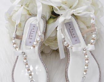 Women and Girls Pearl Wedding Flat Sandals - OFF WHITE T-Strap Pearl with  Rhinestones flat sandal with satin ankle strap - Ivory sandals
