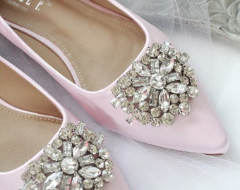 f045a78b7 PINK SATIN Pointy toe flats with oversized rhinestones brooch - Women  Wedding Shoes, Bridesmaid Shoes ,Bride shoes