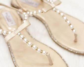 dc05b8f0a392 Women and Girls Sandals - T-Strap BEIGE Pearl with Rhinestones flat sandal  - brides and bridesmaids flat sandals