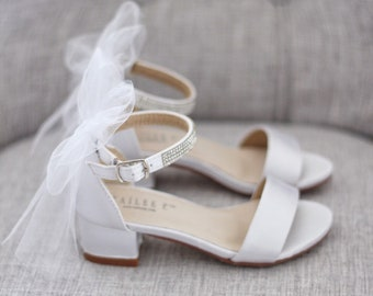 aca5565cae9e WHITE SATIN Block Heel Sandals with Tulle Bow