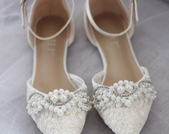 8f6b2696b18 IVORY CROCHET LACE Pointy toe flats with Pearls Applique