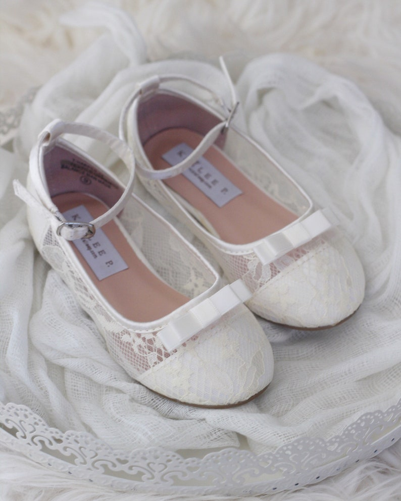 9da23a780c6 Girls IVORY lace ballet flats with Satin Bow Flower Girl