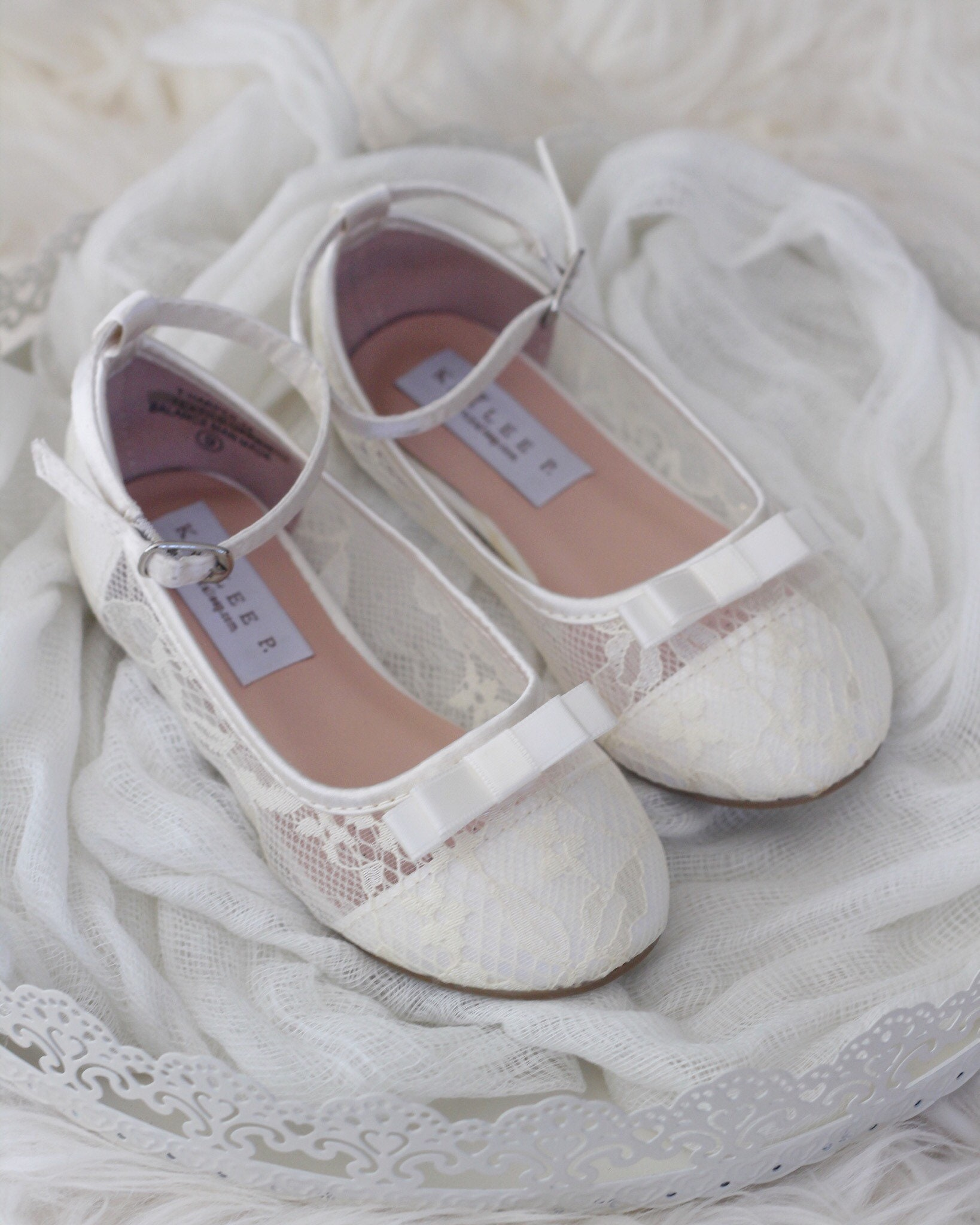 3b03f055b53 Girls IVORY lace ballet flats with Satin Bow Flower Girl