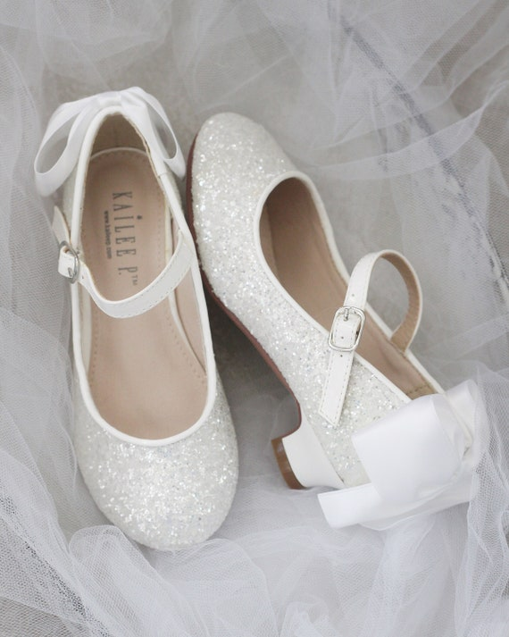 GIRLS WHITE GLITTER FLOWER BRIDESMAID WEDDING PARTY MARY JANE FANCY SHOES SIZE