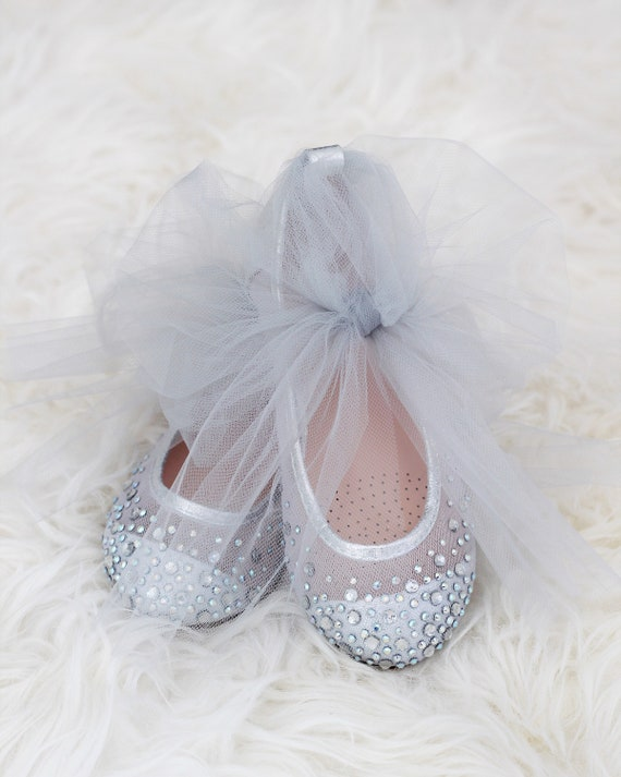 7c7736c73d644 Girls SILVER Shoes With Rhinestone ballet flats with TULLE