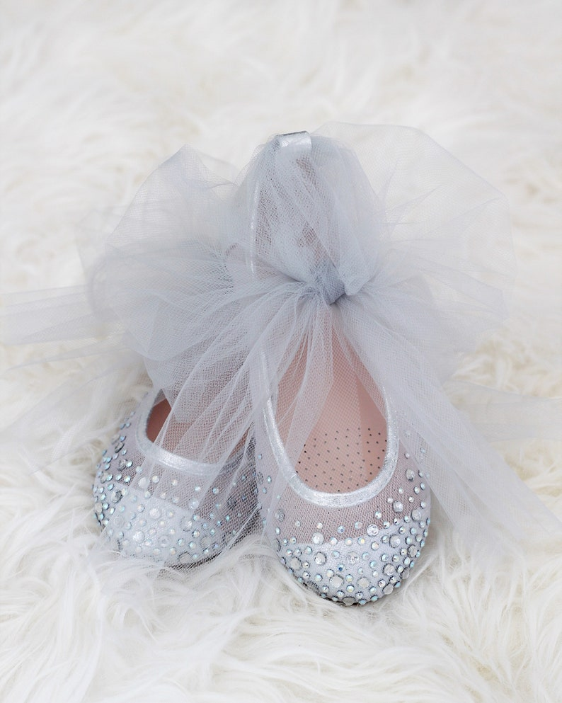 f71dc9e80e2b SILVER Mesh with Rhinestone ballet flats and TULLE ankle