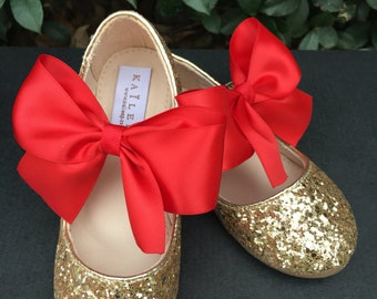 Limited Time!!! - Holiday Infant girl shoes, Toddler girl shoes, Kids Girls Shoes - GOLD glitter mary-jane with RED satin ribbon bow for flo