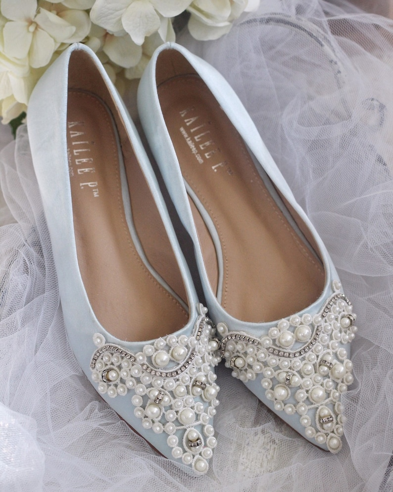 d14cd1c0c Light BLUE Satin Pointy toe flats with oversized PEARLS | Etsy