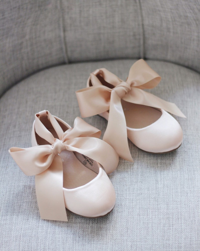 2fe78e11d7 BLUSH Satin Flats with Satin Ankle Strap - Satin flower girls shoes, Pink  shoes, Nude Shoes, Beige Shoes