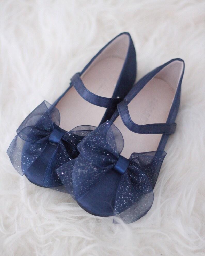 3ece50837659 Girls NAVY Satin Shoes maryjane flats with glitter chiffon