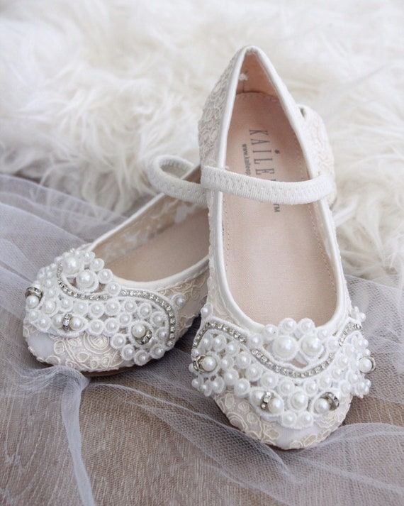 c7fc2cffc1f91 IVORY CROCHET LACE Mary Jane Flats with Applique - For flower girls,  baptism shoes, christening shoes