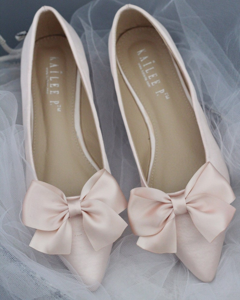 a419c510f708 BLUSH Satin Pointy toe flats with satin BOW Women Wedding