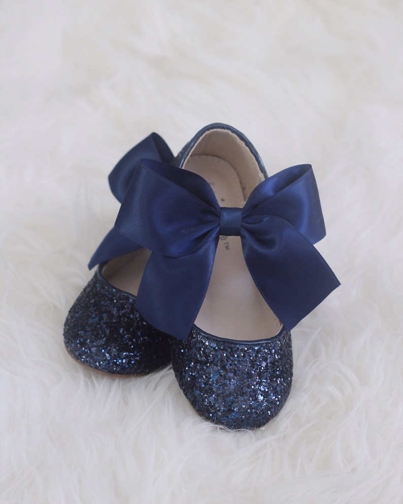 92fae78bc2f NAVY BLUE Rock glitter mary-jane with NAVY satin bow for