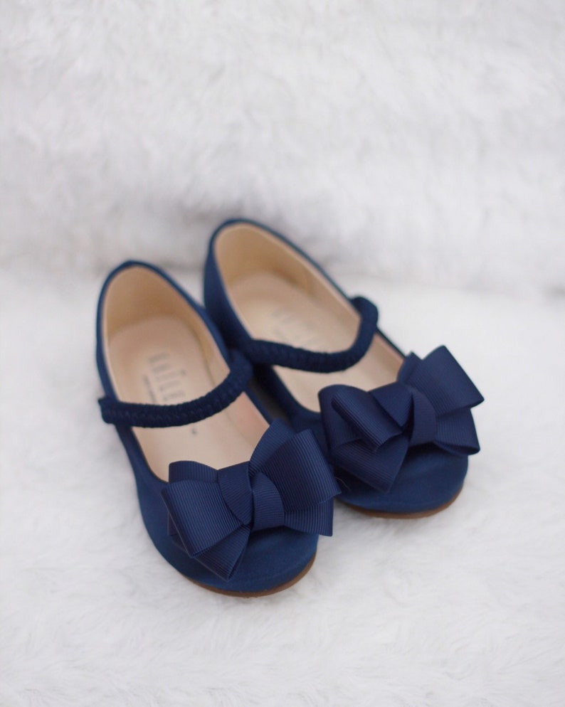 08e10c4a598c9 NAVY Satin Maryjane with GROSGRAIN BOW for flower girl shoes, Girls Toddler  Shoes, Blue Shoes
