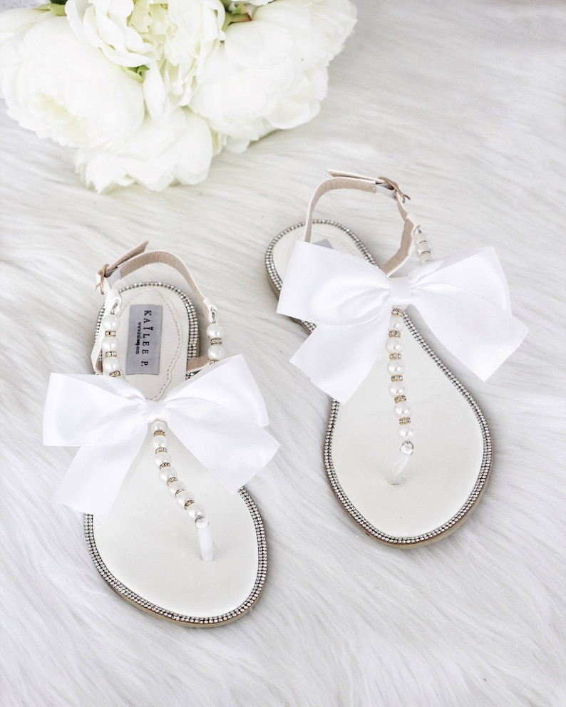 00b7b8111c9231 Women Wedding Sandals WHITE Patent with Pearls   GOLD BEADS