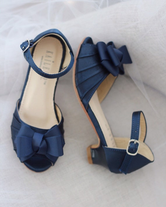NAVY SATIN Heel Sandal with grosgrain bow, Flower Girls Shoes, Jr. Bridesmaids Shoes, Girls Sandals