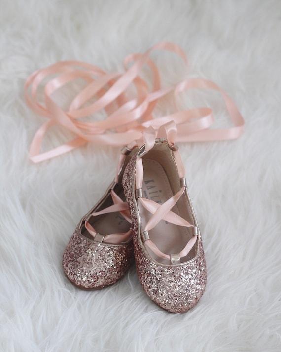 c2996b192a54 ROSE GOLD ROCK Glitter Infant girl Shoe and Girls ballerina