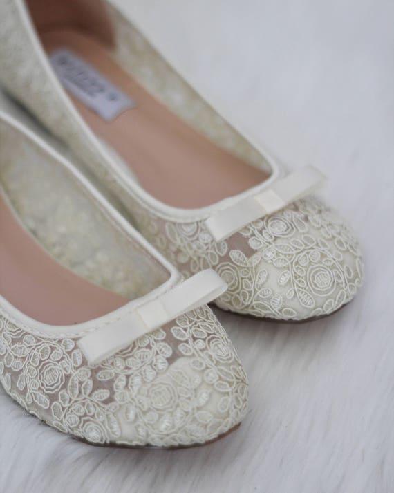 Frauen Hochzeit Schuhe, Brautjungfer Schuhe IVORY häkeln Spitze Ballerina Wohnungen mit TUXEDO BOW vorne