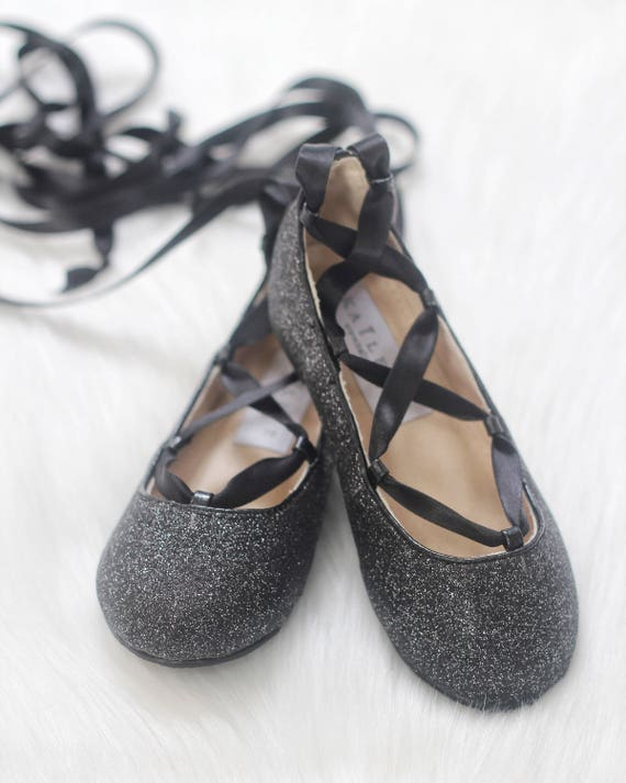 Black Glitter Infant Girl Shoe And Girls Ballerina Shoes Lace Etsy
