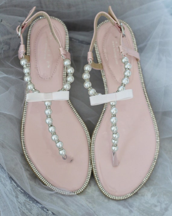 Women and Kids Wedding Pearl Sandals T Strap BLUSH PINK Pearl with Rhinestones flat sandal For brides, bridesmaids and flower girls