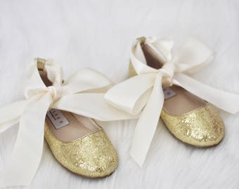 Infant girl shoes, Toddler girl shoes, Kids Girls Shoes - GOLD Irredescent sparkly mary-jane with satin ribbon tie for flower girls