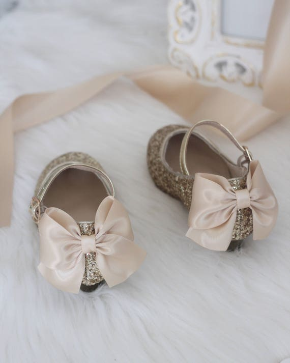Girls Glitter Heel Shoes GOLD Rock Glitter mary jane heels with added satin bow Flower Girl shoes and Princess Shoe