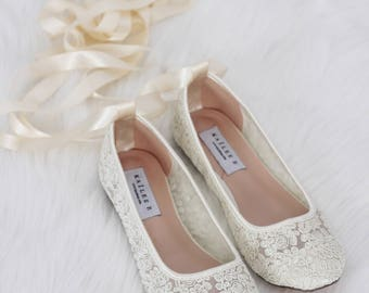 Flat wedding shoes etsy ivory lace round toe flats with ballerina lace up women wedding shoes bridesmaid shoes junglespirit Image collections