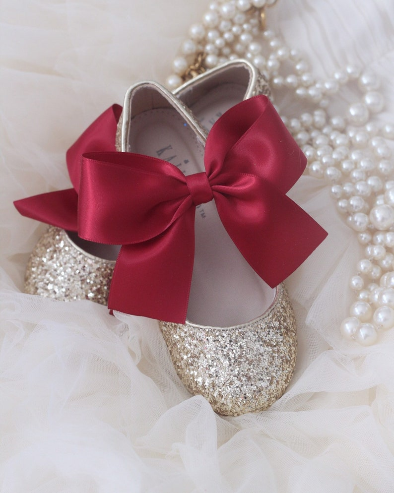 d40e48ba17bd GOLD Rock glitter maryjane with BRICK RED satin ribbon bow