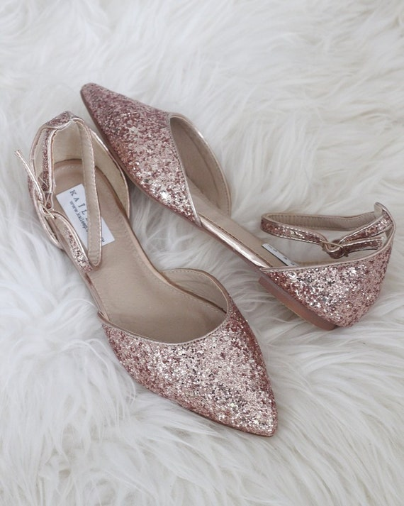 free delivery best deals on shoes for cheap ROSE GOLD Rock Glitter Pointy Toe Flats with Ankle Strap & | Etsy