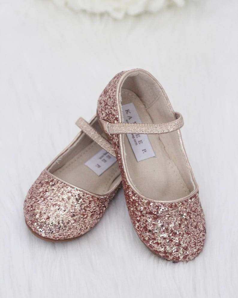 bd5c85d7c3 ROSE GOLD Rock Glitter Maryjane Flats for Flower Girls Shoes, Girls Shoes,  Holiday Shoes, Party Shoes